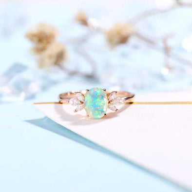 Faceted Oval cut Opal Engagement Ring Rose gold Women | Antique Moissanite Bridal Marquise Jewelry |Unique Promise Anniversary Gifts for Her - onlyone