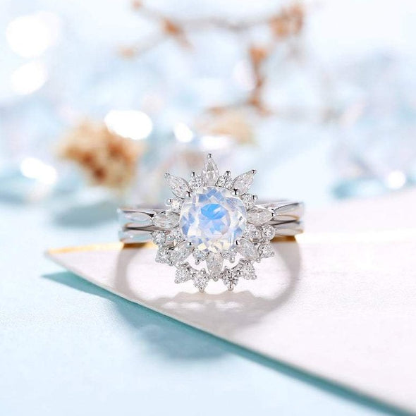 Moonstone Engagement Ring Women Floral bridal set Moissanite wedding set Vintage Anniversary gift for her - onlyone