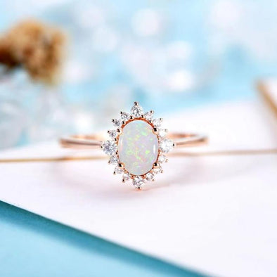 Vintage Opal Engagement Ring Antique Oval Cut Bridal Ring Prong set Ring Unique Anniversary Gift for Her - onlyone