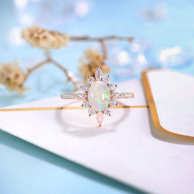 Vintage Opal Engagement Ring Rose gold Women | Antique Diamond half eternity Bridal Jewelry | Unique Promise Ring Anniversary Gifts for Her - onlyone