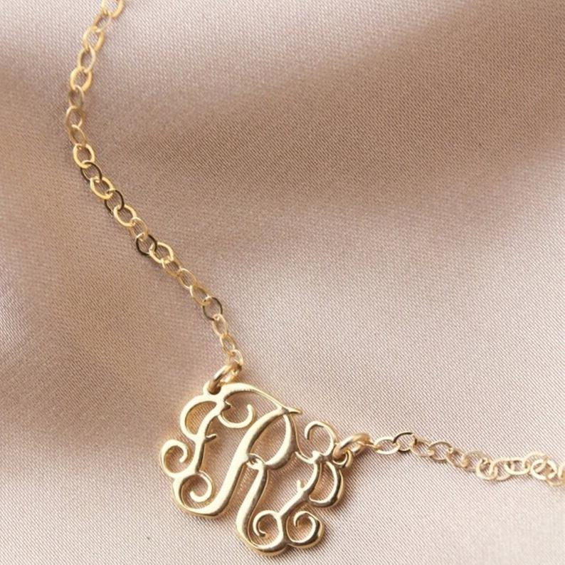 925 Sterling Silver Personalized Monogram Anklet Dainty Custom Initials Chain Anklet - onlyone