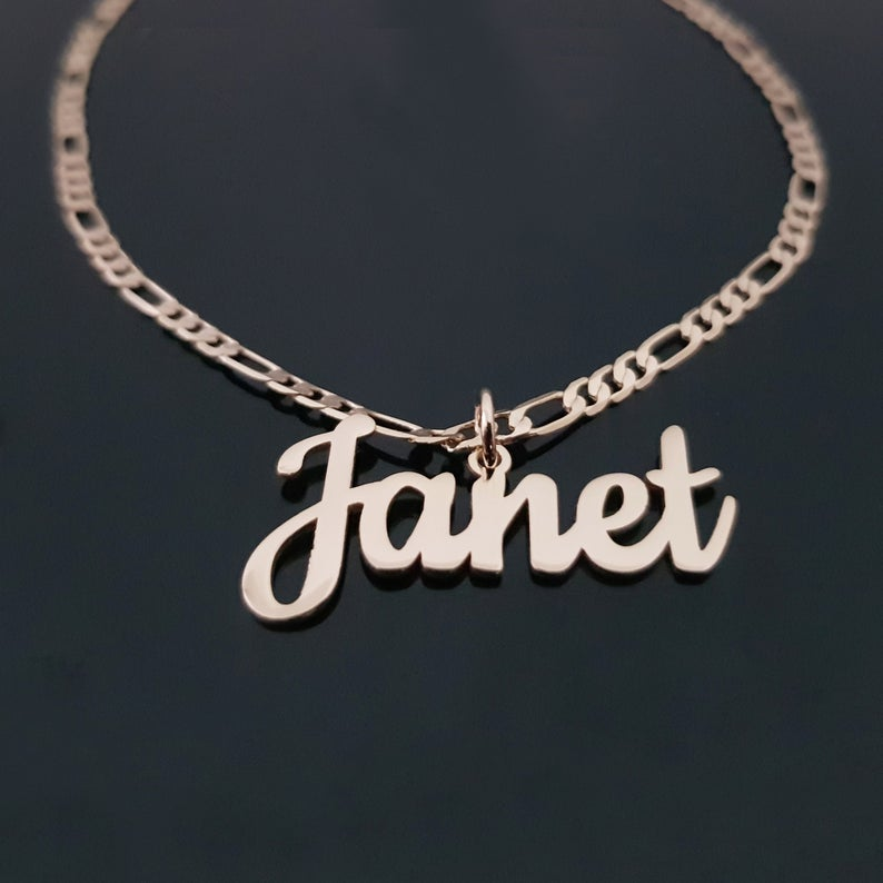 925 Sterling Silver Name Pandent Necklace In Figaro Chain
