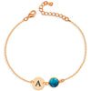 925 Sterling Silver Personalized Initial Anklet With Birthstone