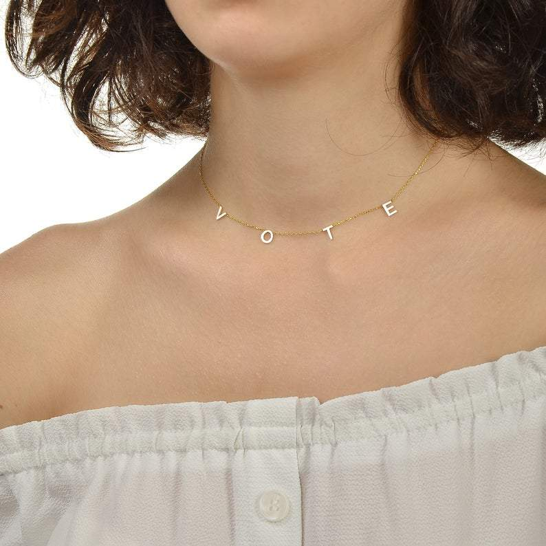 925 Sterling Silver A to Z Initial Choker Necklace