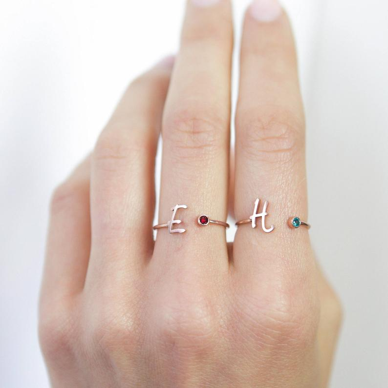 925 Sterling Silver Personalized Uppercase Letter Name Ring Nameplate Ring Birthstone Ring