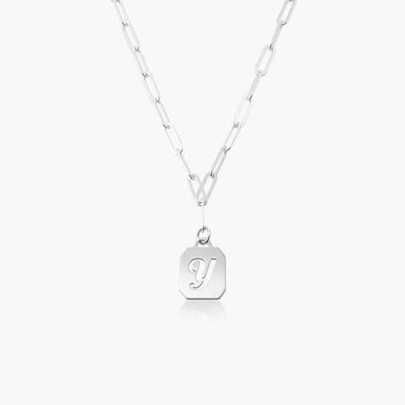 925 Sterling Silver Hollowed-Out Initial Necklace in Clip Link Chain