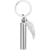 925 Sterling Silver Angel Wing Charm & Cylinder Memorial Urn Necklace Cremation Jewelry for Ashes