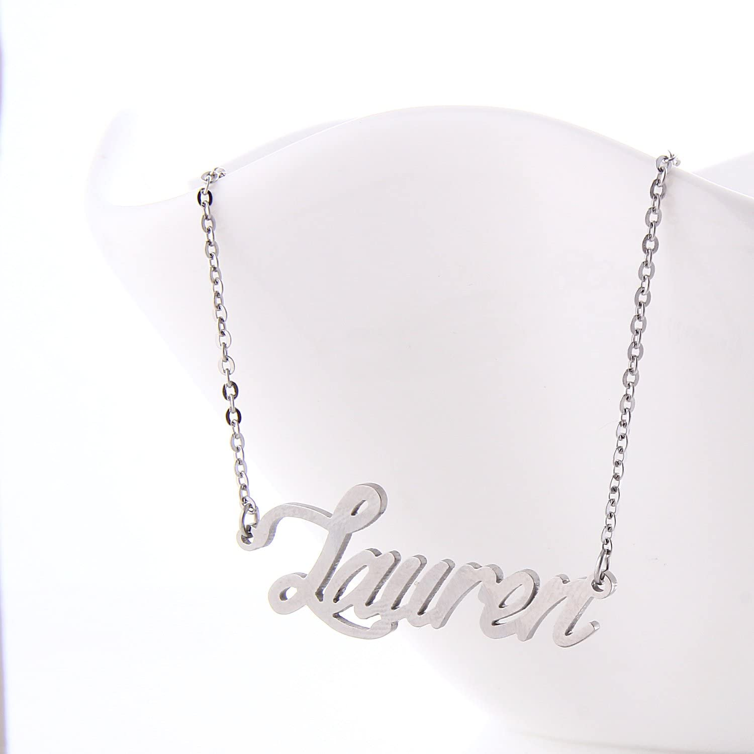 "925 Sterling Silver ""Lauren"" Style Custom Name Necklace"