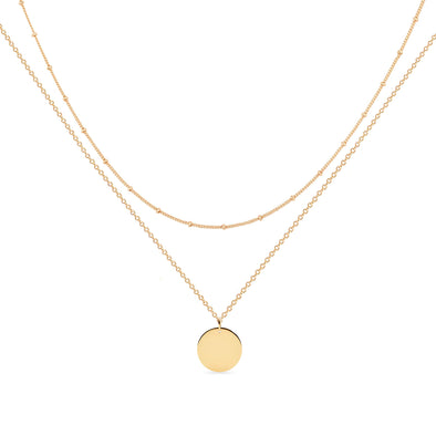 925 Sterling Silver Double Layerd Disc Initial Necklace