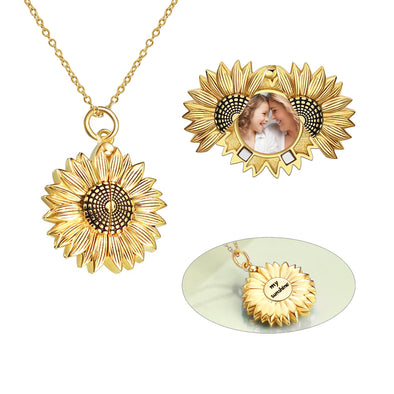 925 Sterling Silver Gold Sunflower Open Locket Photo Pendant Necklace, Gift For Her