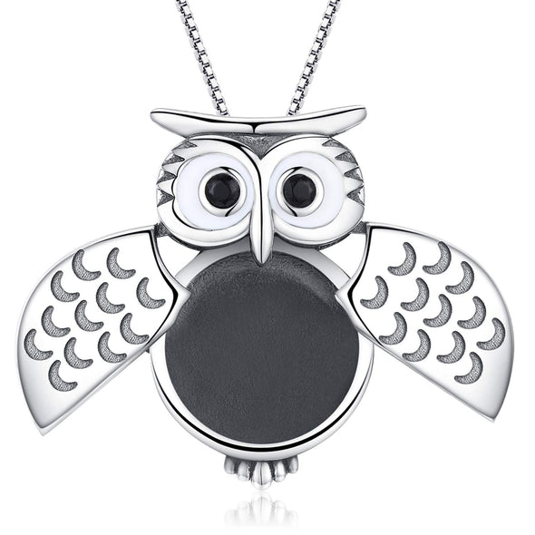 925 Sterling Silver Cute Wisdom Owl Photo Locket Necklace
