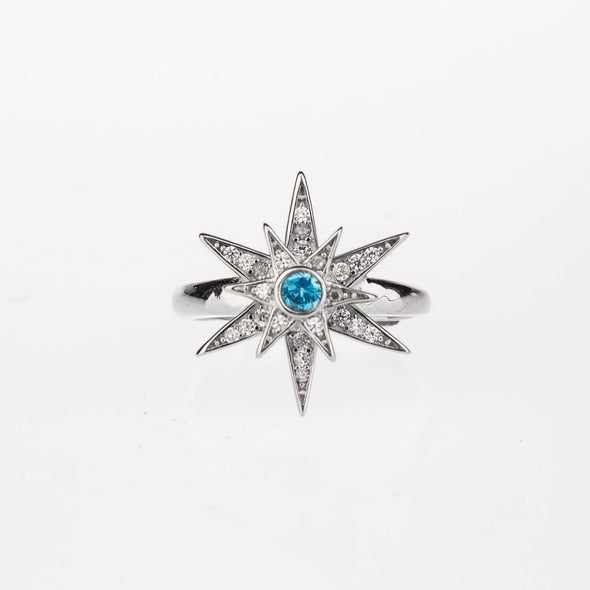 925 Sterling Silver Rotatable Cubic Diamond Snowflake Ring - Hexagram - onlyone