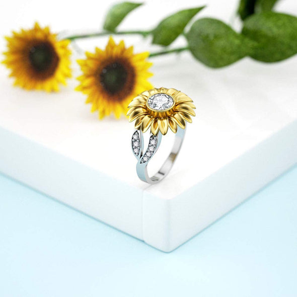 925 Sterling Silver Golden Sunflower Ring with Zircon