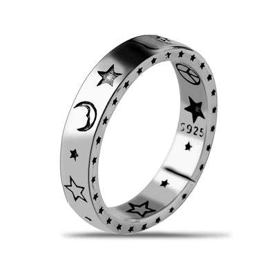 925 Sterling Silver Smile Face Moon Star Love and Peace Open Ring