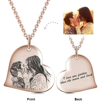 Kiss Love Heart Engraved Photo Necklace-Photo Engraved Necklaces-YAFEINI-yafeini-personalized-custom-jewelry