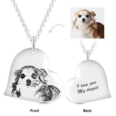 925 Sterling Silver Heart Shaped Pet Photo Engraved Necklace Inspirational Gift - onlyone
