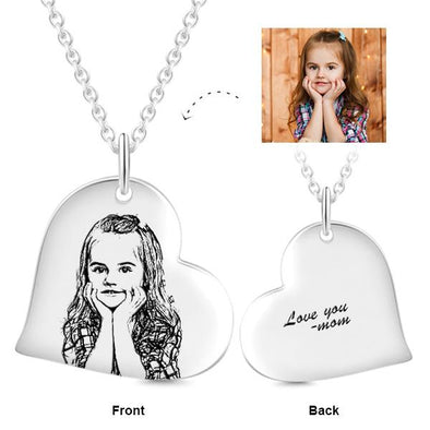925 Sterling Silver Love Heart Kids Engraved Photos Necklace Inspirational Gift - onlyone