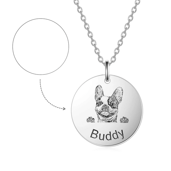 925 Sterling Silver Pet Lithograph Pet Portrait Engraved Necklace Personalized Necklace Gift For Pet Lovers - onlyone