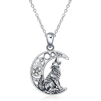 925 Sterling Silver Celtic Knot Crescent Moon Wolf Pendant Necklace