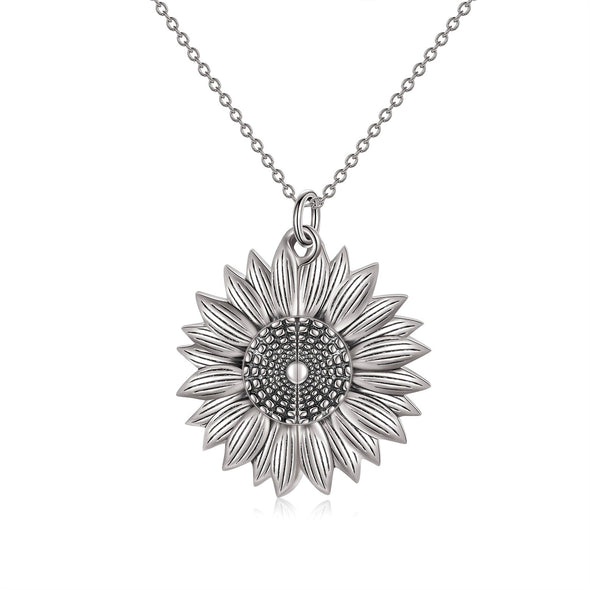 925 Sterling Silver Custom Photo Sunflower Locket Necklace - onlyone