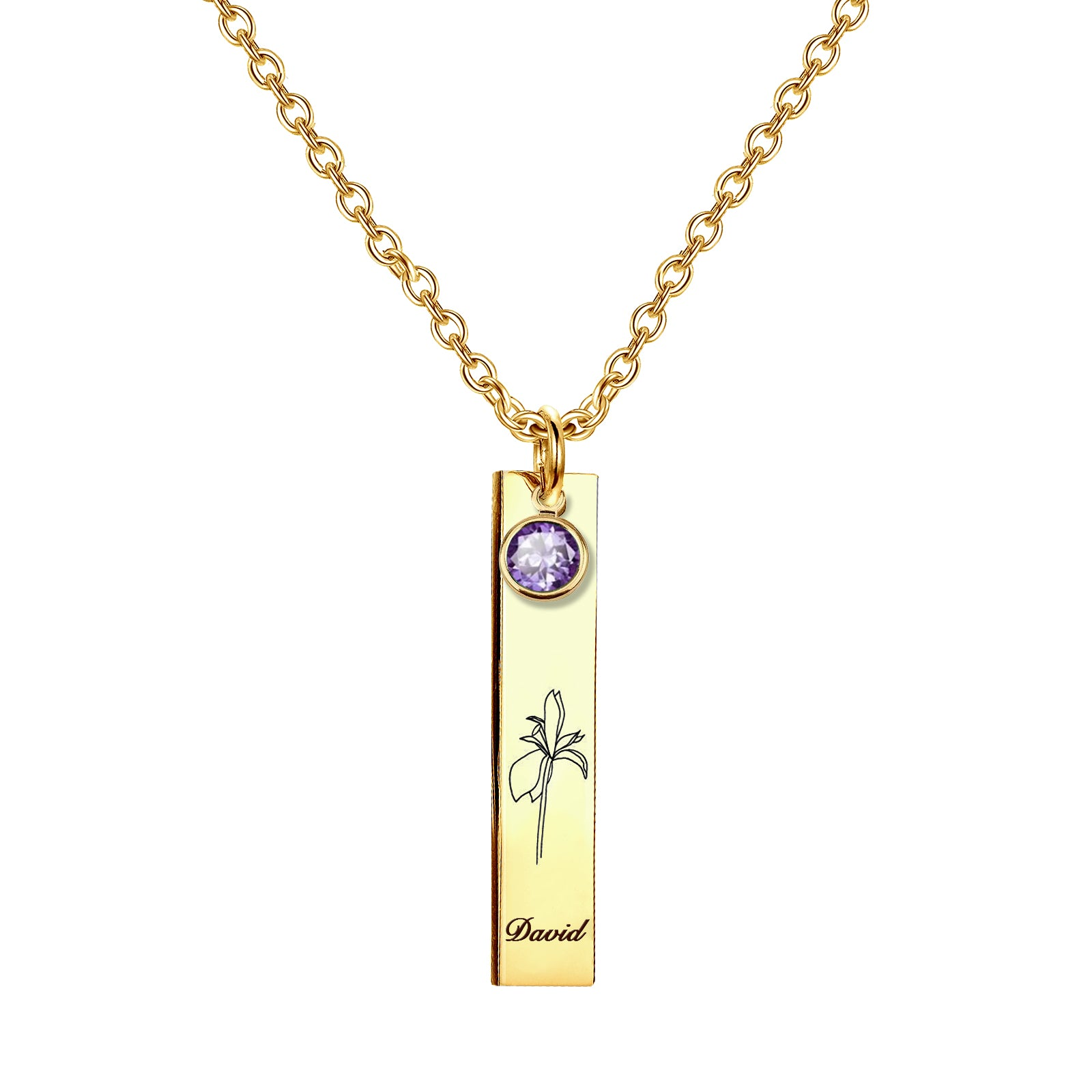 925 Sterling Silver Personalized Name & Birth Month Flower Vertical Bar Necklace