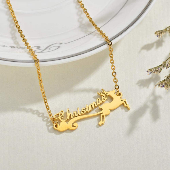 925 Sterling Silver Personalized Merry Christmas Deer Name Necklace