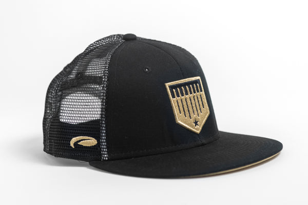 Black and Gold Mesh Trucker