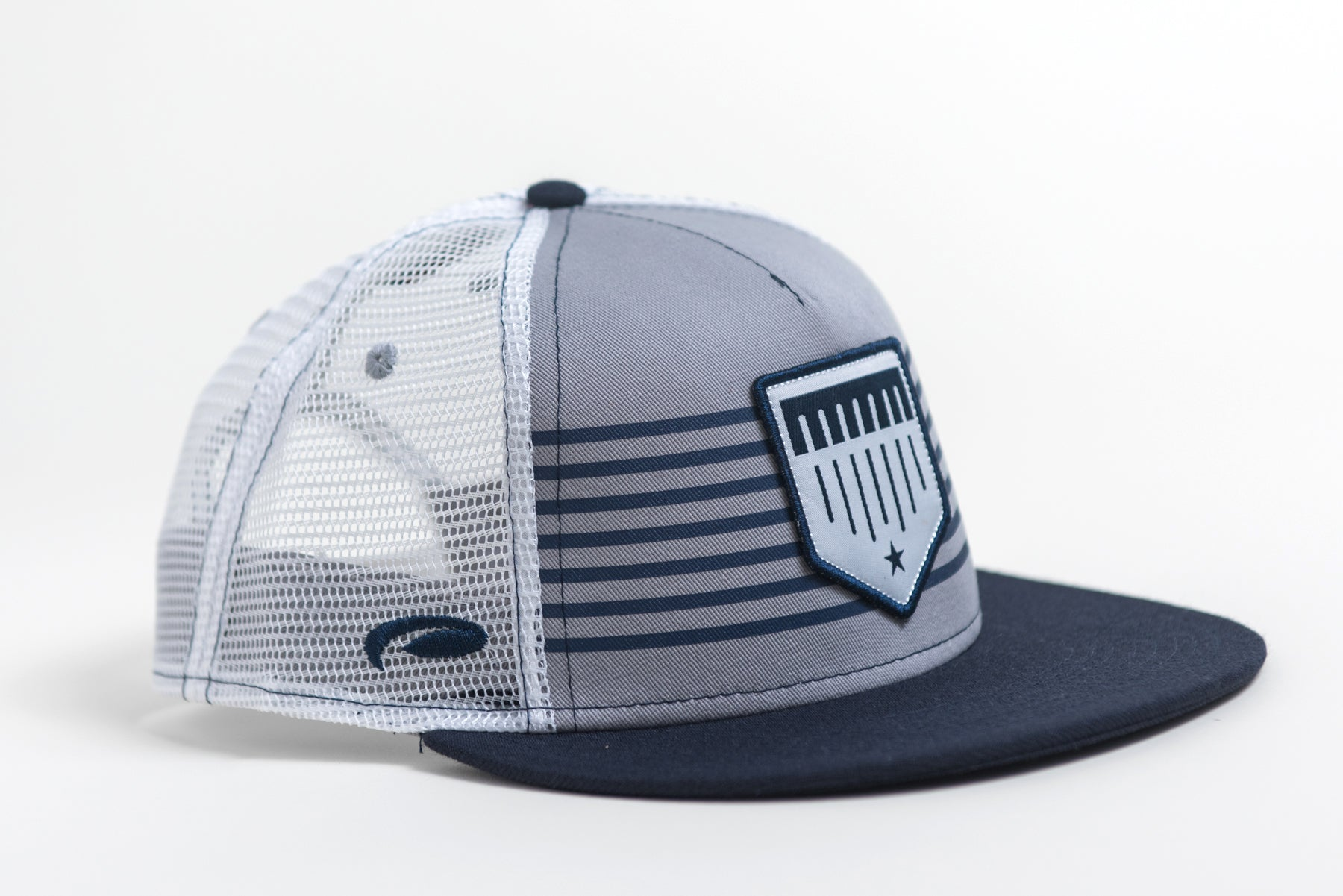 Blue and Grey Striped Mesh Trucker