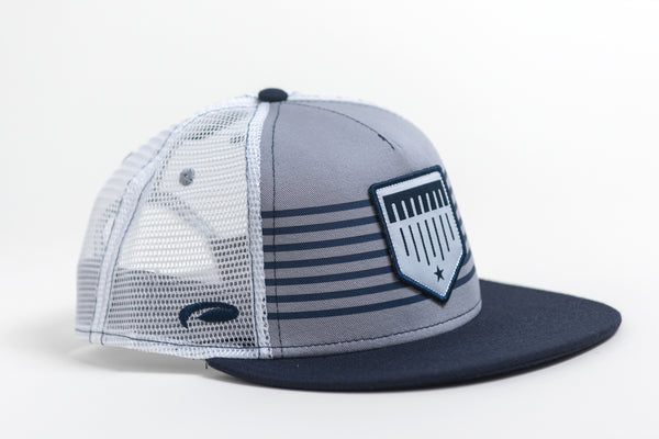 grey and blue striped trucker hat image 1