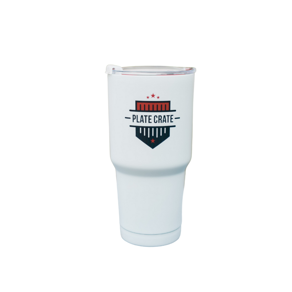 White Plate Crate Tumbler with Plate Crate Logo
