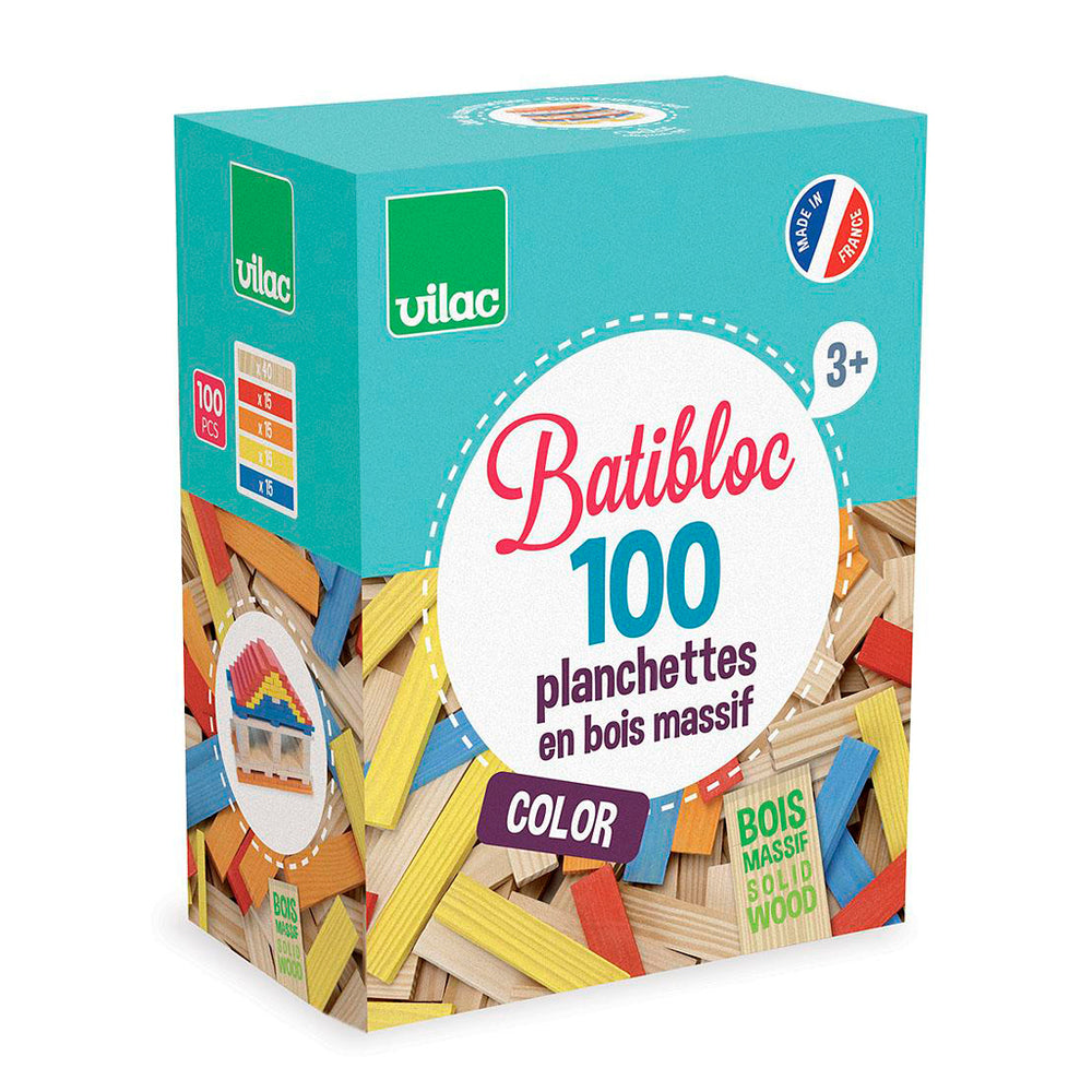 100 Wood Pieces Set, Multi-Color