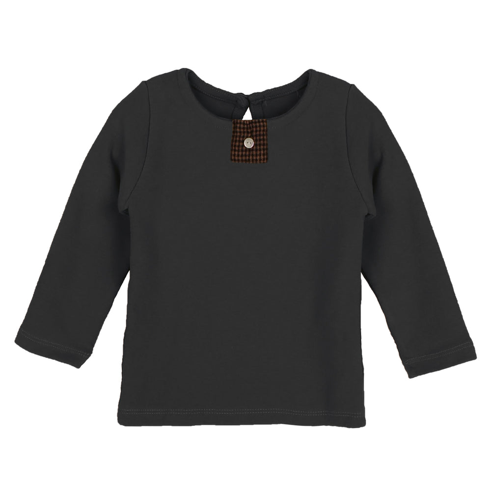 t-shirt in3 colours: brown, charcoal and cream. Brand: Bien a Bien Details: Unisex, Soft and Elastic, Button in the centre of the waist, Button at the back, Comfortable, Warm, Can be worn as undershirt Composition: 95% Cotton, 5% Spandex Made in: Korea