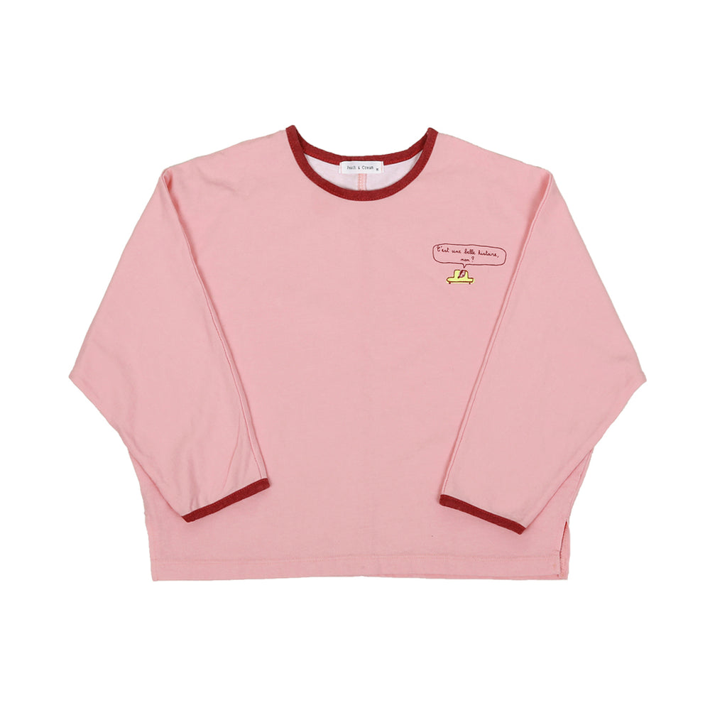 t-shirt in three colours: caramel, mocha and pink. Brand: Peach and Cream  Details: Loose fit, Soft material, Neck and Sleeve hem pigmented colours, Logo  Composition: 100% Cotton Made in: Korea