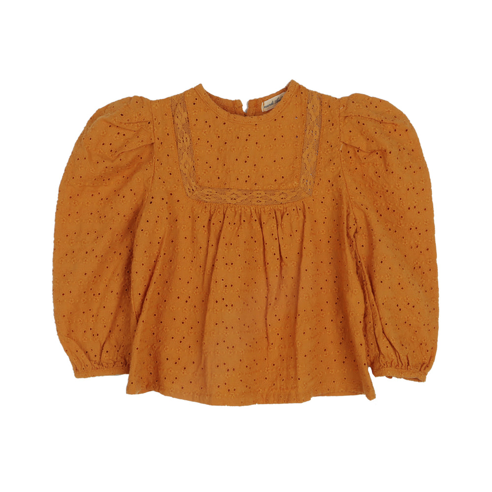 Haim Blouse. Brand: Amber Colour: Orange Details: Round neck, Lace, Puffy sleeves, Buttons at the back, Delicate style, Loose fit, Unique pattern Composition: 100% Cotton Made in: Korea