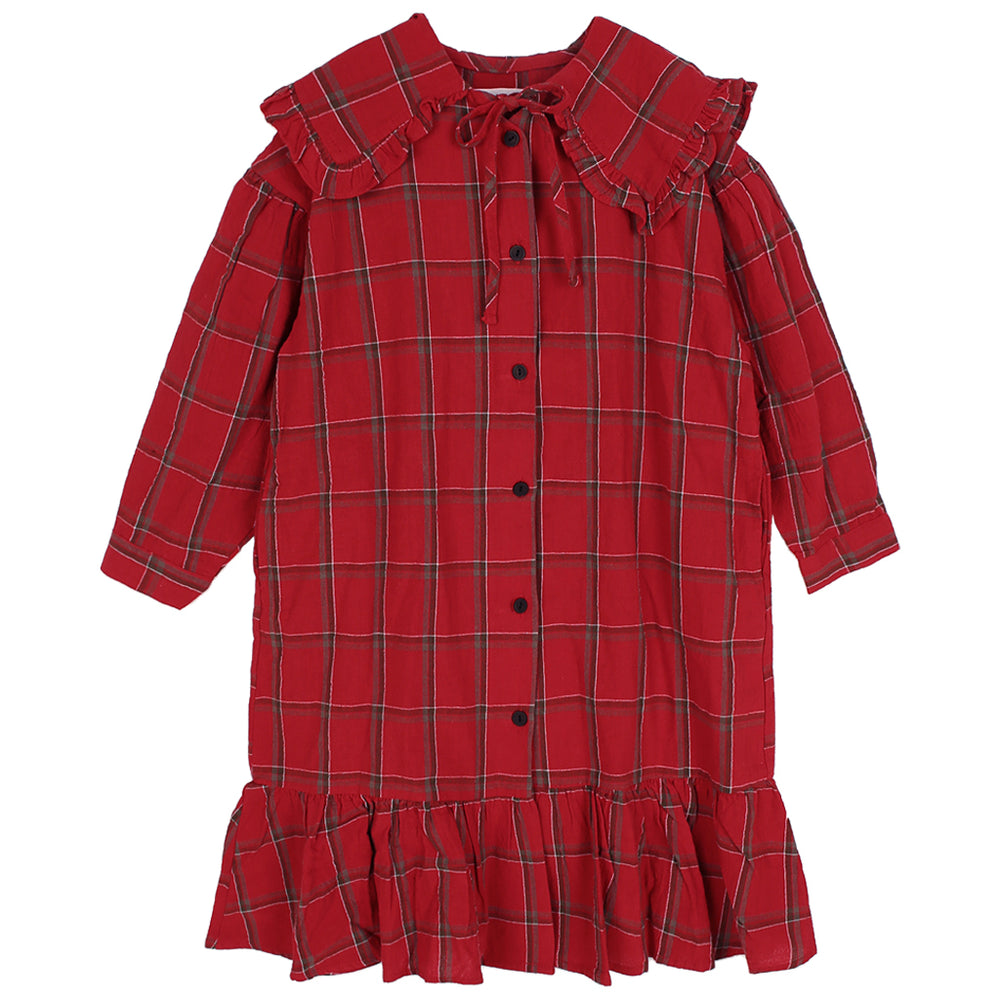 Brand: Peach and Cream  Colour: Red  checkered. Details: Loose and long, Checkered, Frill at the bottom, Puritan collar, Bow at the neck, Front buttons Composition: Cotton Made in: Korea