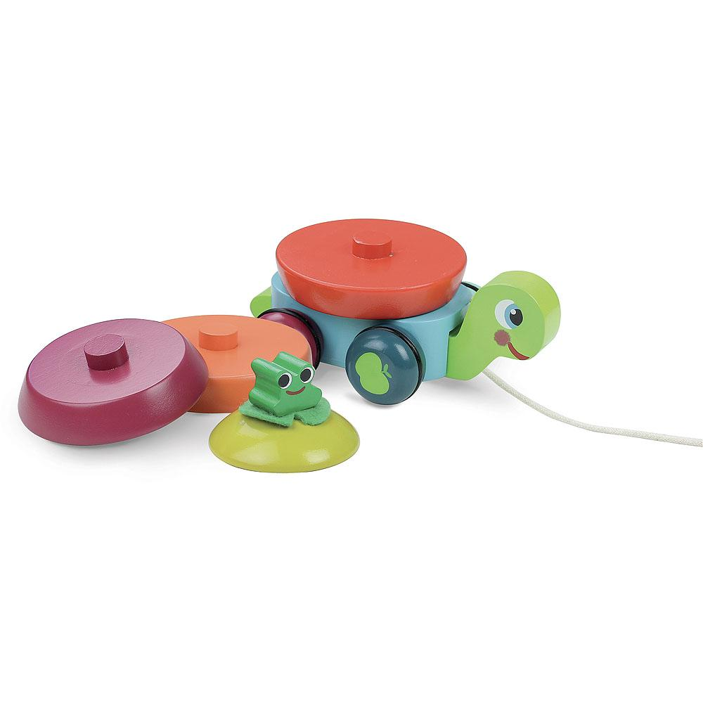2-in-1 Turtle stacker pull-along toy
