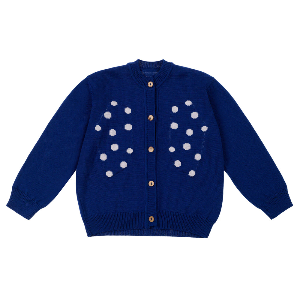 "Blue Knitted cardigan with fun Intarsia motive ""Dots"" spread all over chest area, Coconut buttons, Round neck. Composition: 50% Merino wool, 50% Polyamide"