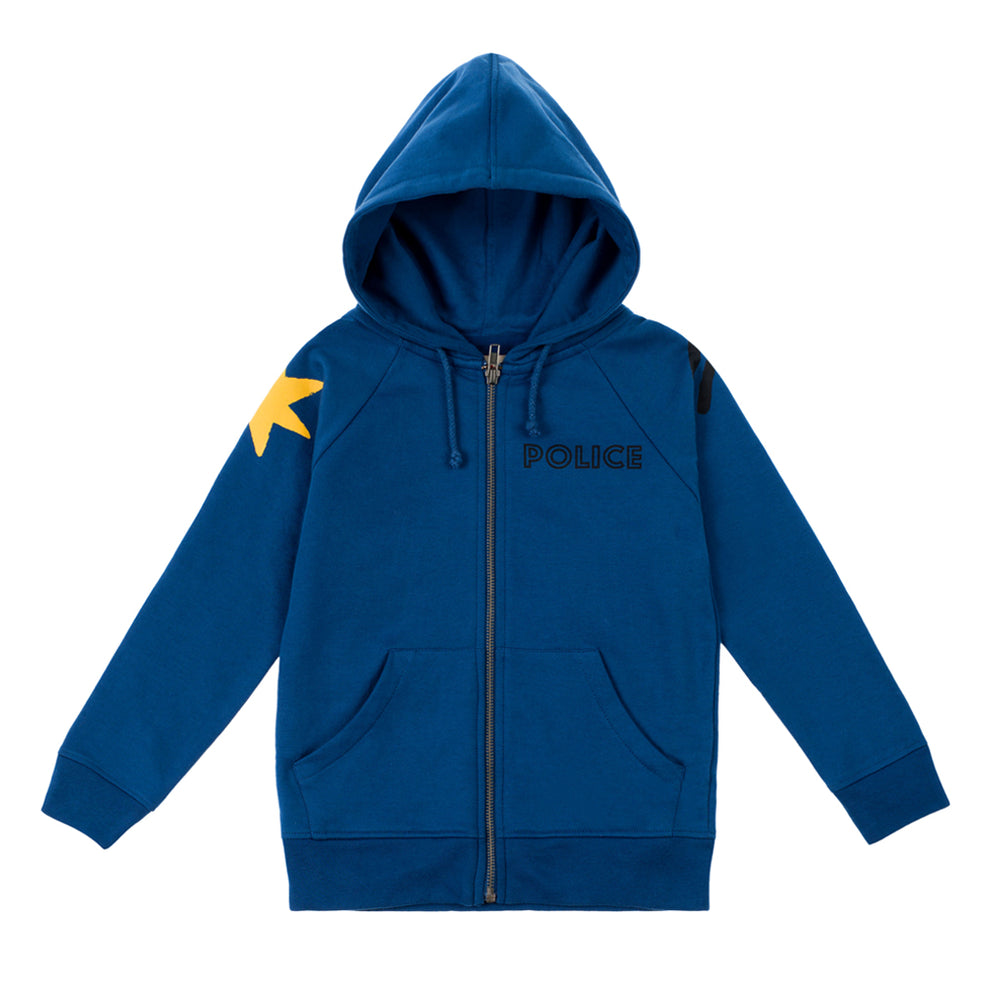 "Hoodie Police Officer. Brand: Nadadelazos Colour: Police Blue Details: Unisex, Local print ""Police"", Front zipper, Side pockets, Super warm brushed finishing inside. Composition: 100% Organic cotton french terry, Brushed inside Made in: India"