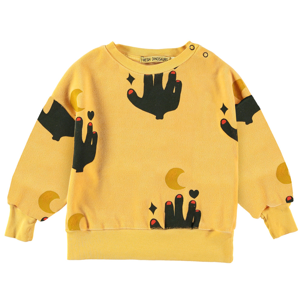 Brand: Fresh Dinosaurs Colour: Old Gold Details: Palm and Moon Print, Elastic waist, Soft touch, Round Neck, Long sleeves, Ribbed edges Composition: 100% Cotton Made in: Spain