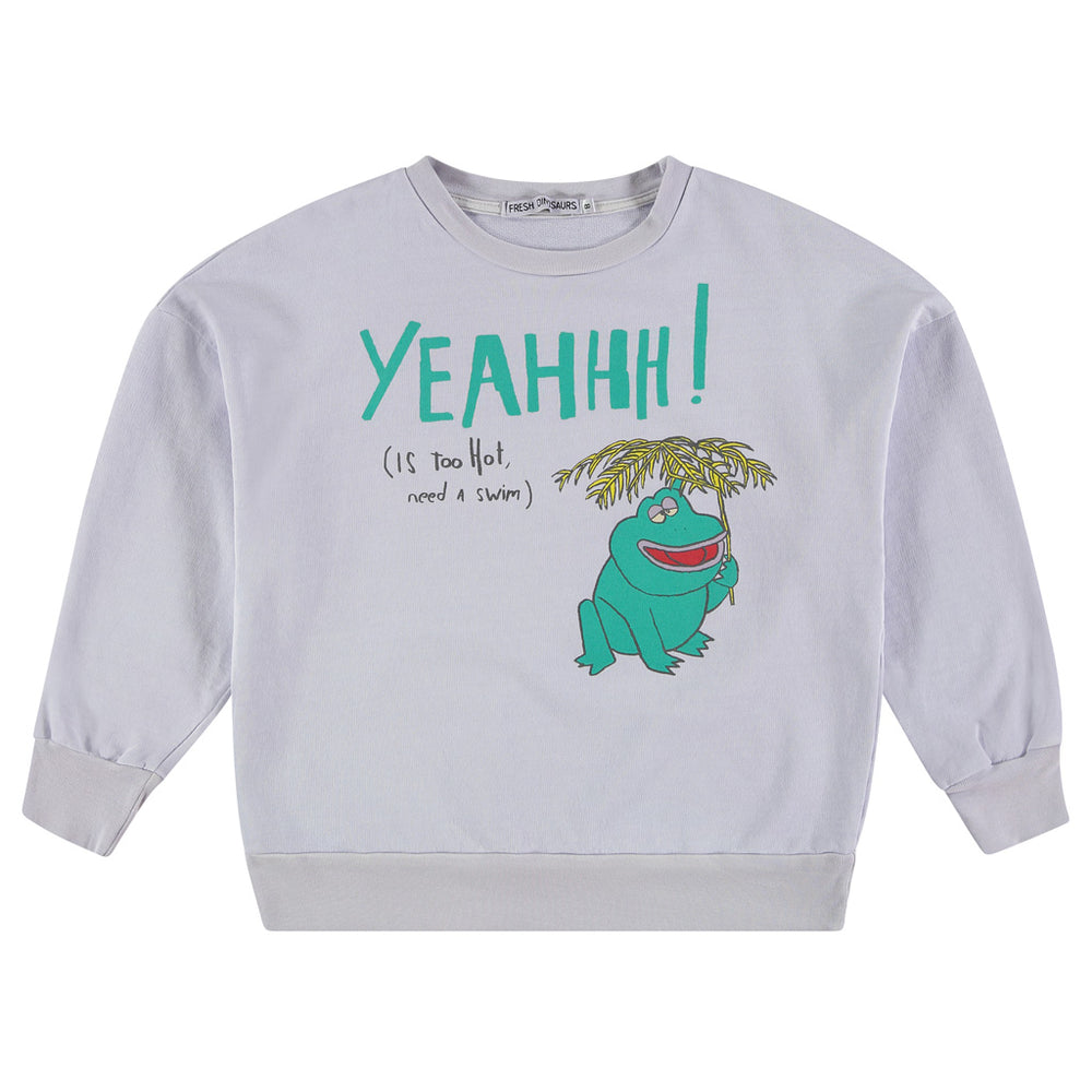 rand: Fresh Dinosaurs Colour: Evening Haze  Details: Front print 'Yeahhh (is too hot, need a swim)', Elastic waist, Soft touch, Round Neck, Long sleeves, Ribbed edges Composition: 100% Cotton Made in: Spain