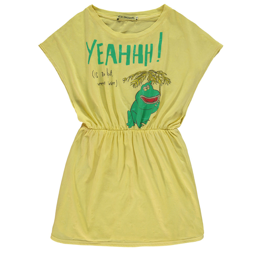 "Brand: Fresh Dinosaurs Colour: Goldfinch Details: Short sleeve, Round neck, Loose fit, Elastic waist, Print ""Yeahhh (is too hot, need a swim)"" Composition: 100% Cotton Made in: Spain"