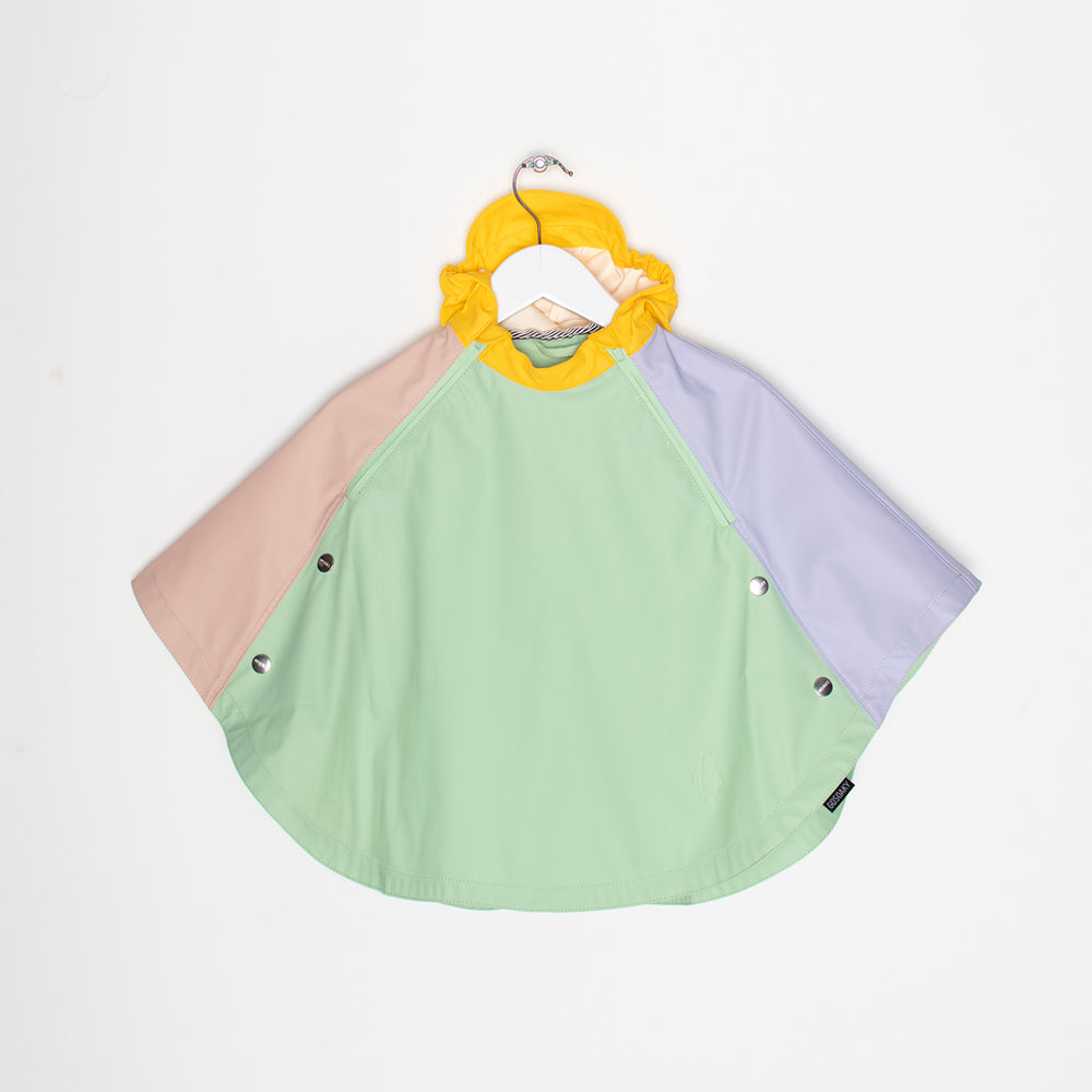 Description:  Brand: GoSoaky Details: Unlined, Waterproof 5000mm column pressure, Wind-Resistant, Sealed seams, Waterproof zipper, Unisex Composition: Micro PU. Colour: Green pastel colour block (pink, violet, yellow and green)