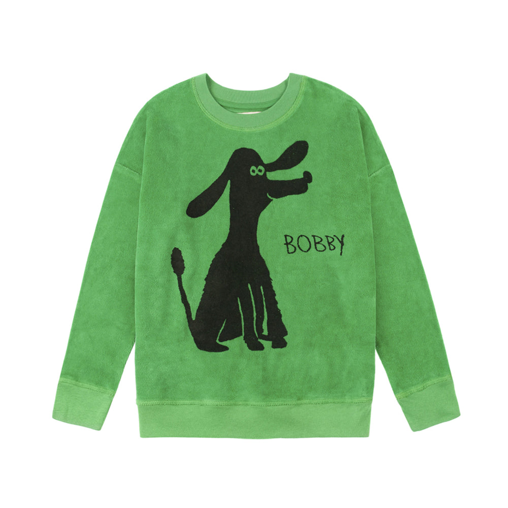 "Brand: Nadadelazos Colour: Broccoli Green Details: Unisex, Casual, Local print ""Bobby"", Warm brushed finish Composition: 100% Organic velour Made in: India Care: Machine wash 30 degree max, Do not dry clean, Do not tumble dry, Cold iron on the reverse side, Do not bleach."