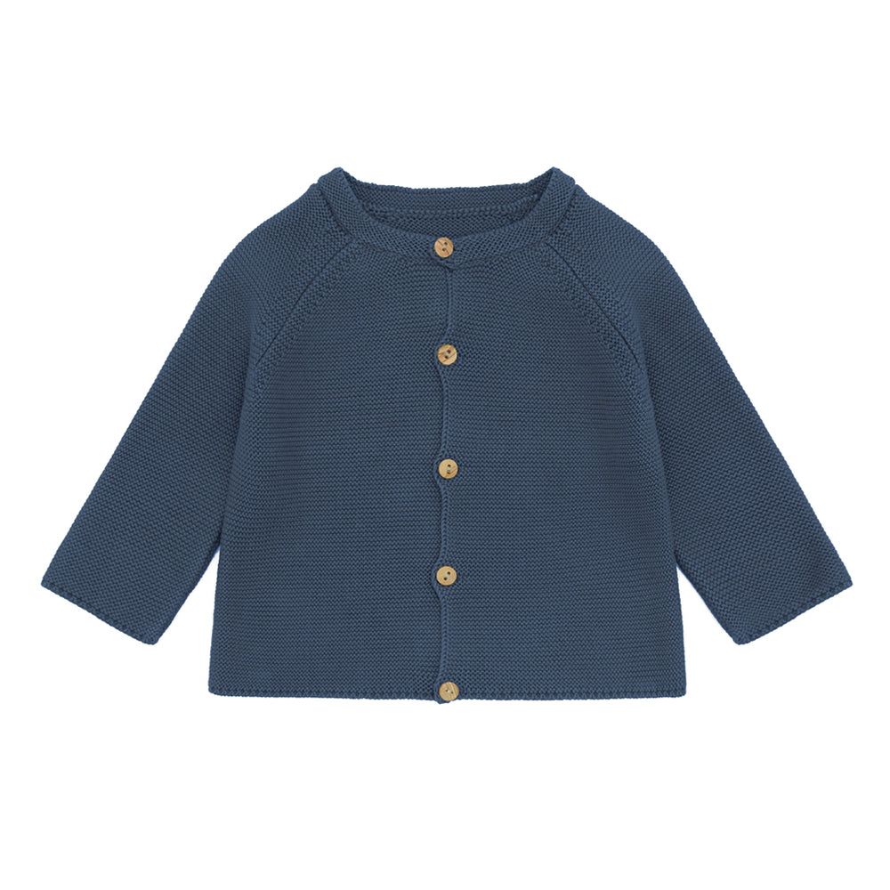 Ecru Organic Cotton Knit Cardigan