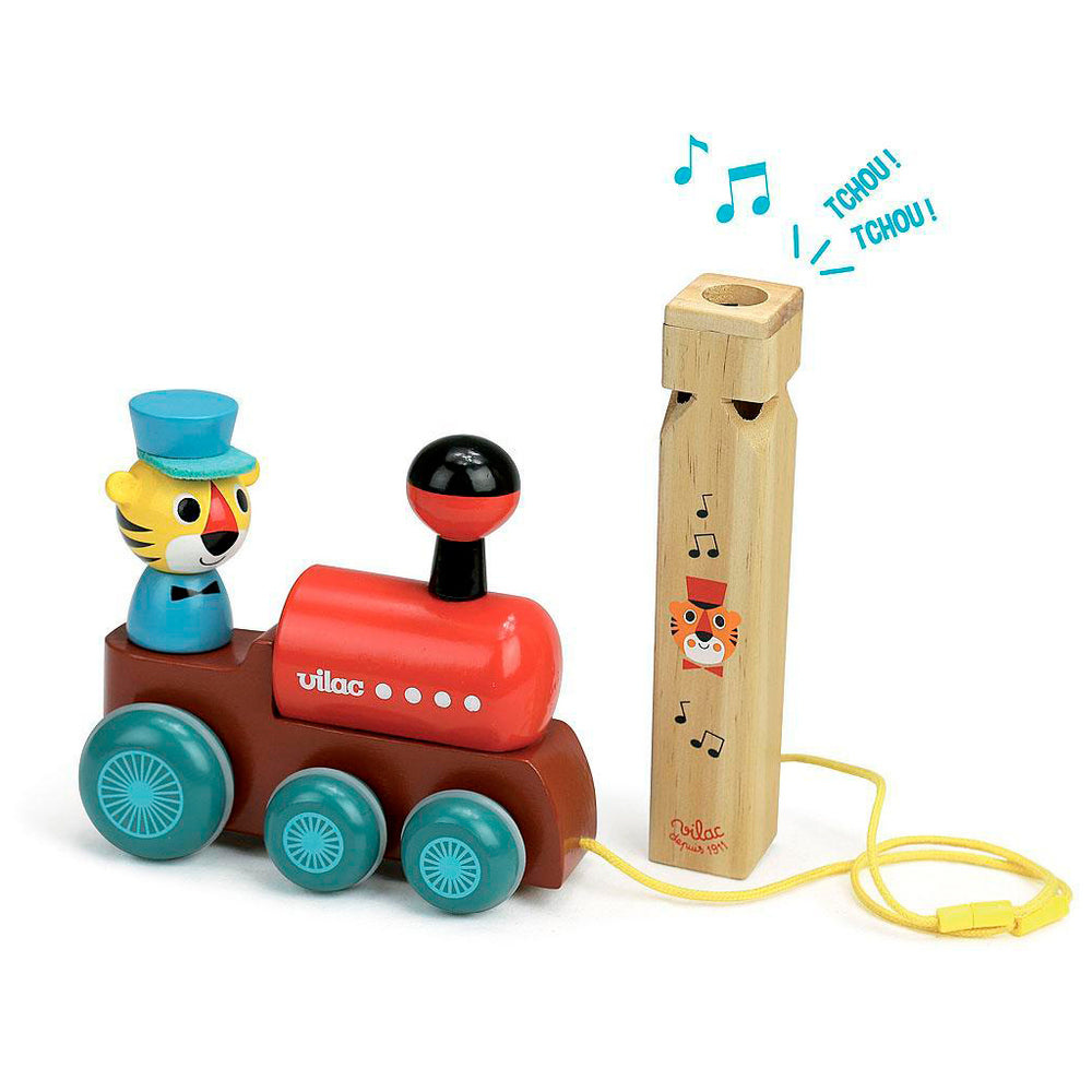 Pull-along toy with a train whistle