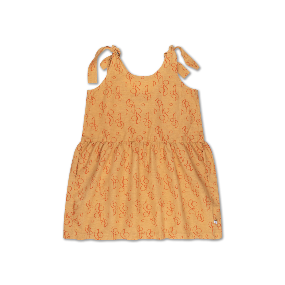 Knot dress - Brand: Repose Ams Colour: Golden yellow  Details: Boxy shaped knot dress, Straps can be knotted to the correct length for the perfect fit, Has pockets at side seam to carry along your treasures.  Composition: 50% Cotton, 50% Linen woven Made in: Portugal