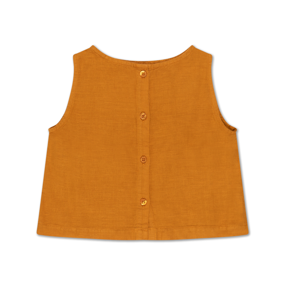 Brand: Repose Ams Colour: Golden yellow  Details: Cute woven top with front button down closure, Easy to wear it casual or dressed up. Composition: 50% Cotton, 50% Linen woven Made in: Portugal