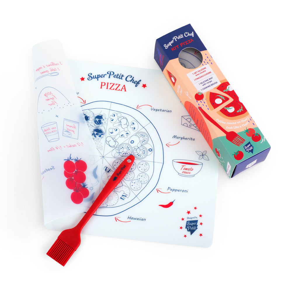 Fun way to make biscuits with your little one for the whole family! Placemat with detailed recipe for fun and yummy biscuits!   Description:  Brand: Super Petit  Details: 1 Table set, 1 Pastry brush, Anti-bacterial, Non-Porous, From 3 years old,  30 x 40 cm, Can touch food, Dishwasher safe (top drawer) Composition: 100% Silicone, BPA Free, Phtalates Free.   Made in: France