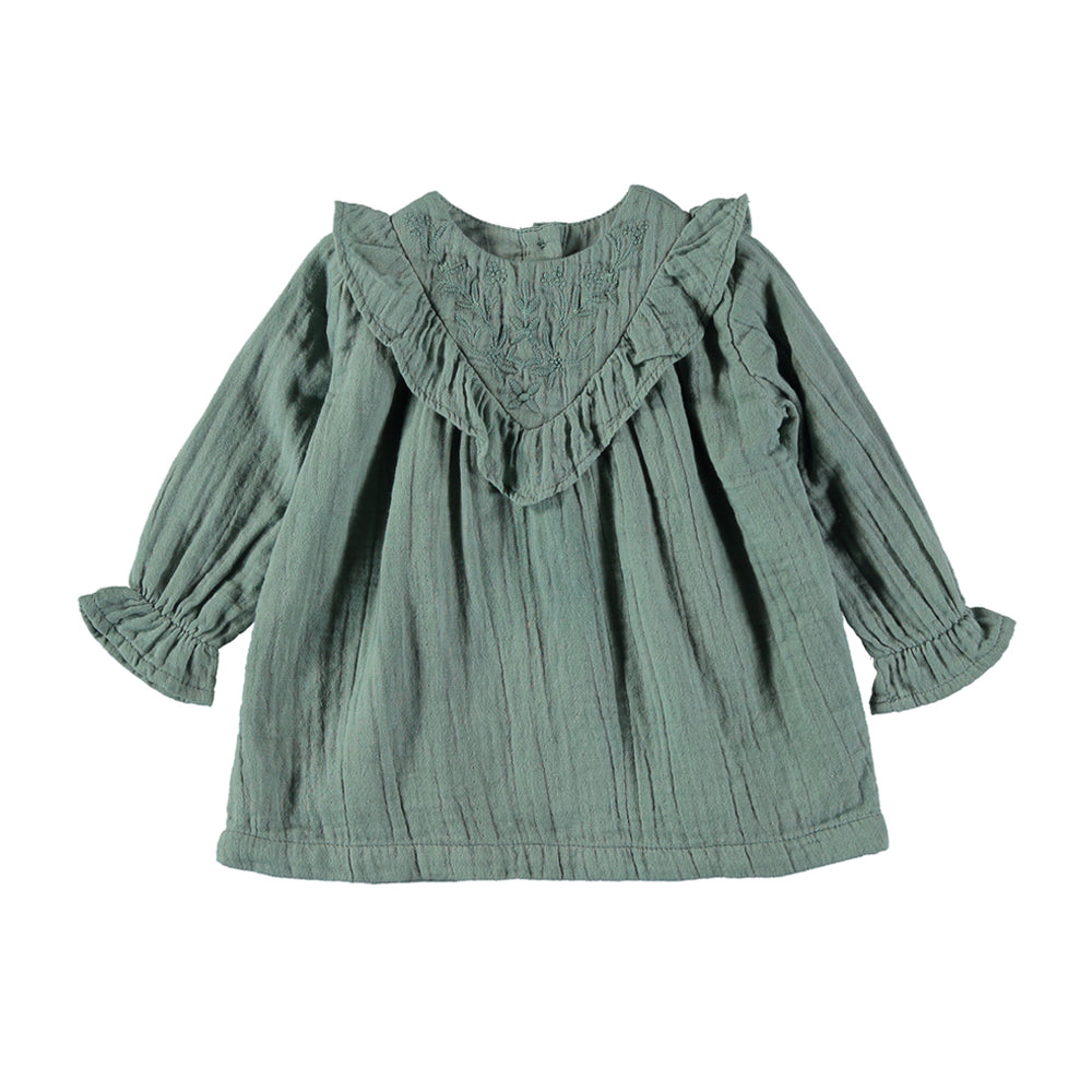 Baby forest green dress with embroidery Cotton Gauze, Long sleeve with elastic cuffs, Buttons at the back, Ruffled, Loose cut