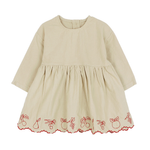 Bien a Bien baby dress with Vintage fruit embroidery on the hem in red colour, Round neck, Buttons at the back, Loose fit, Long sleeves.